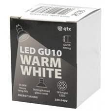 18 x Lampadina LED GU10, 230Vac, Bulk packed - Warm White