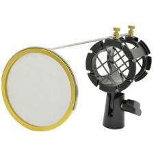 Microphone Shock Mount With Integrated Pop Shield