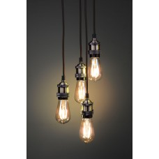 lyyt Lampadario 4 lampade pendenti vintage E27 Ottone