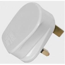 Rubber UK mains plug, 13A fuse, white