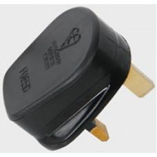 UK mains plug, 13A fuse, black