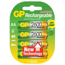 NiMH rechargeable batteries, 1.2V, 2550mAh, AA, packed 4 per blister