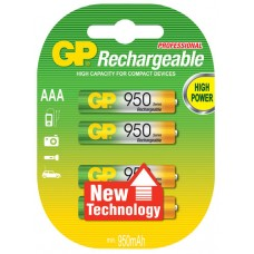 NiMH rechargeable batteries, 1.2V, 930mAh, AAA, packed 4 per blister