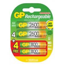 GP Special Offer 4 AA + 4 AAA NiMH Rechargeable Battery
