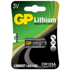 Lithium photo cell, CR123A, 3V, packed 1 per blister - 16.8 x 34.5mm
