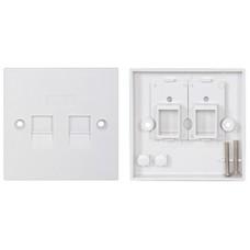 Network RJ-45 Keystone Faceplate, Twin Outlet