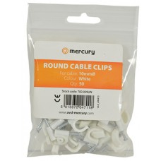 CR100 round cable clips 10.0mm Ø, white - box of 50