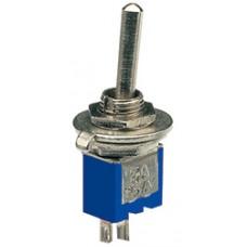 Sub-miniature toggle switch, 1 x on/off, 3.2 x 8.2mm, 250Vac, 1A