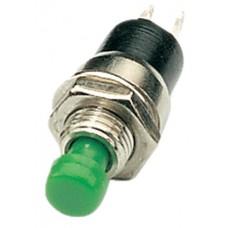 Miniature push to make switch, 125Vac, Green
